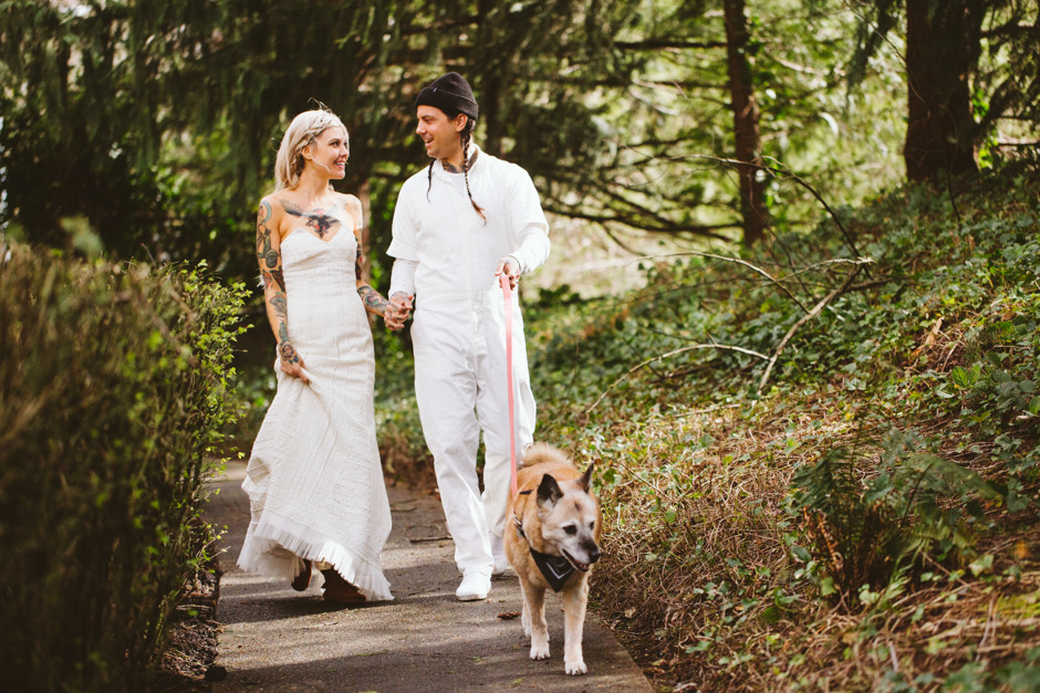 Couple walks dog at Salish Lodge wedding