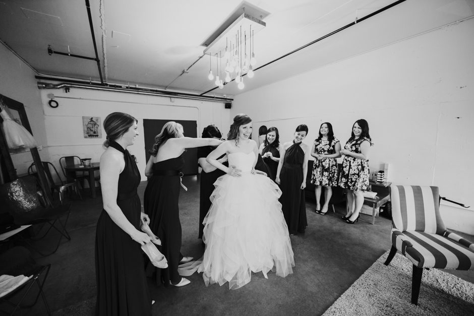 Bride getting ready at Fremont Foundry wedding
