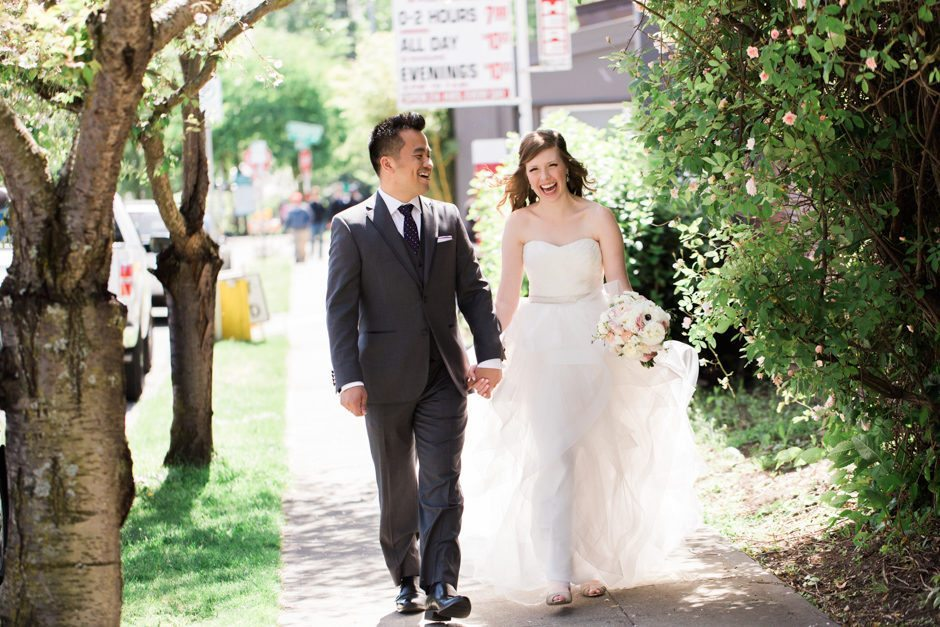 Couple's walk at Fremont Foundry wedding