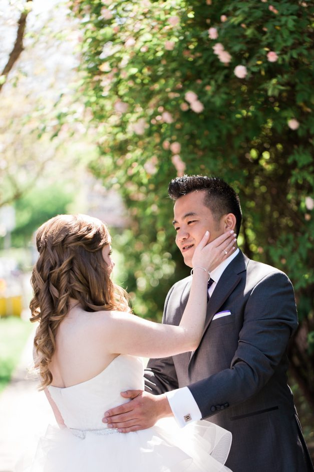 Couple's first look at Fremont Foundry wedding
