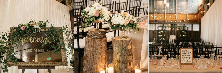 Wedding cermony decor at Sodo Park wedding