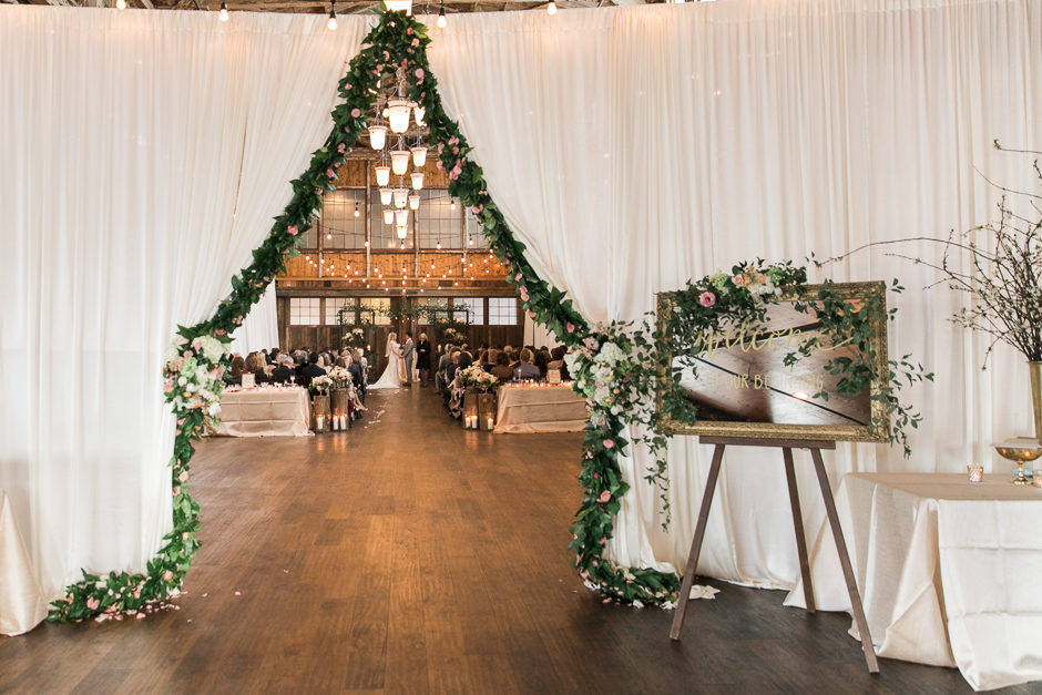 Entrance to ceremony space at Sodo Park wedding
