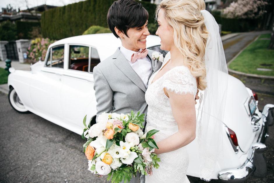 Couple next to wwedding car at Sodo Park Wedding