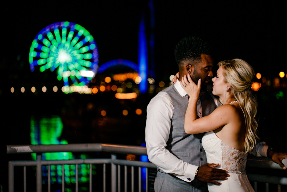 great wheel with bride and groom
