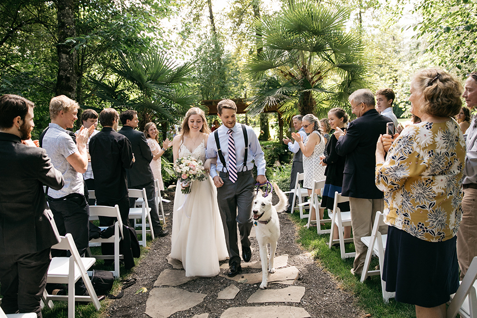 ceremony recessional with dog