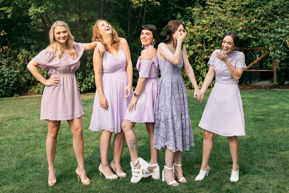 bridesmaids sisters lavender dresses