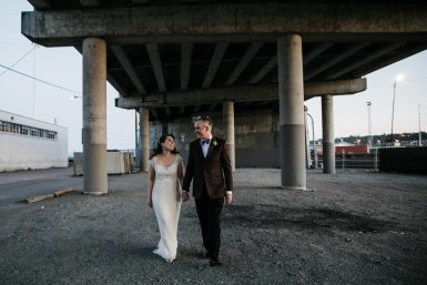 bride and groom walking at the foundry by herban feast