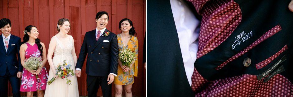groom with monogrammed jacket