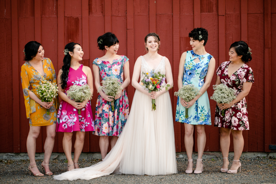 spring floral bridesmaid dresses and blush wedding gown
