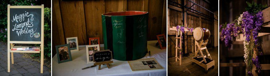 handmade drum by groom at wedding