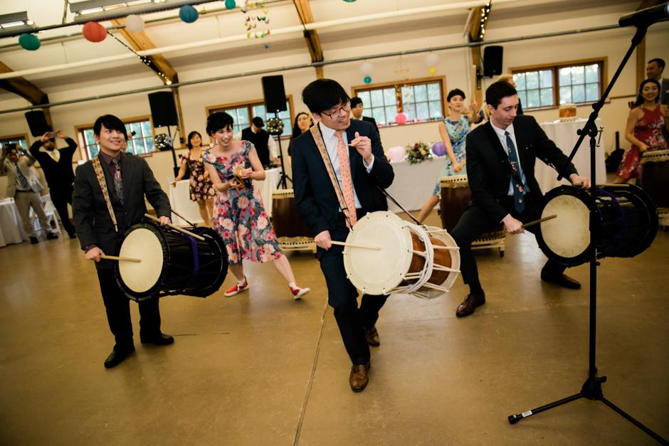taiko drumming troupe at wedding