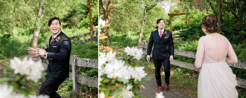 first look with bride and groom at pickering barn