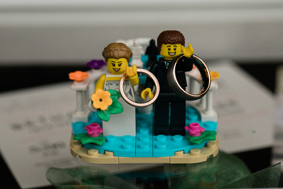 Bride and groom lego figures at Willows Lodge wedding reception