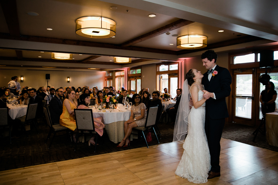 Brife and groom first dance at Willow Lodge Wedding reception