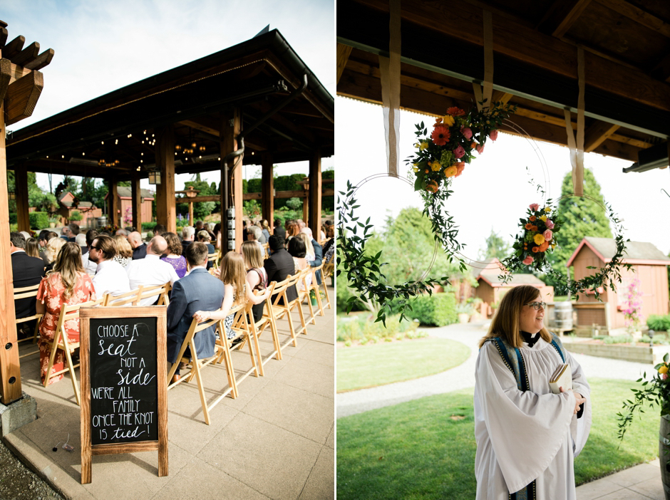Outdoor ceremony at Willows Lodge wedding