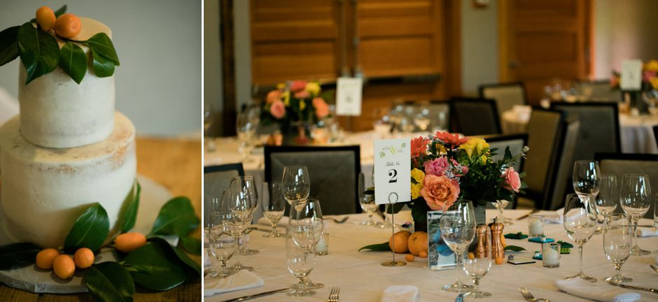 Cake and tablescape at reception of Willows Lodge wedding