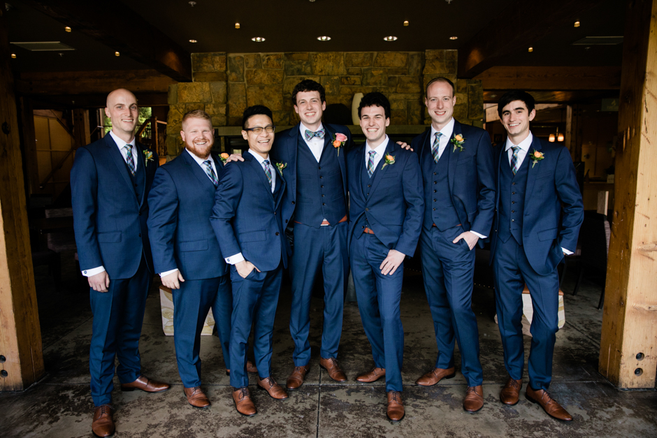 groomsmen photo in fireside lounge at willows lodge