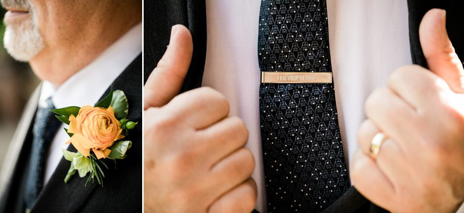father of bride wearing star wars tie clip