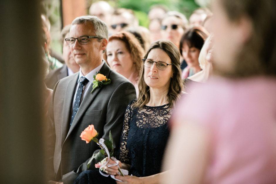 mother of groom daydreaming during ceremony at willows lodge