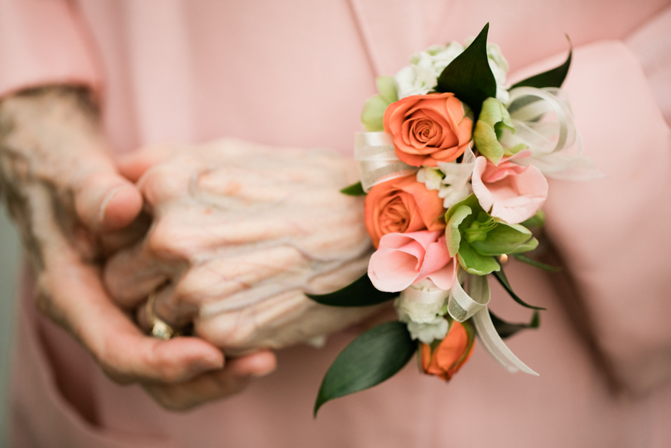 grandmother wearing wrist corsage by fena flowers
