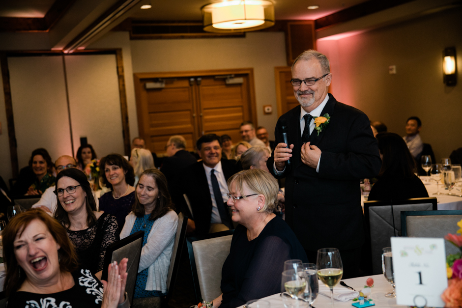 proud father of the bride giving toast at willows lodge