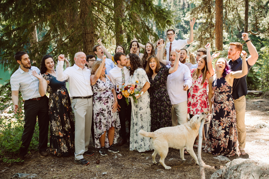elopement group at hidden lake with family and dog