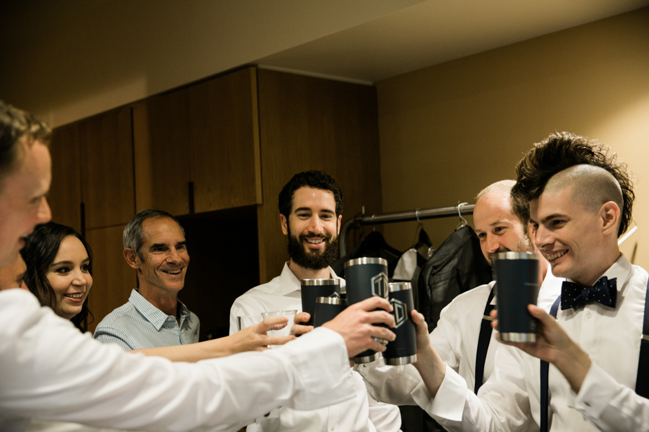 Groomsmen toasting at Cedarbrook Lodge wedding