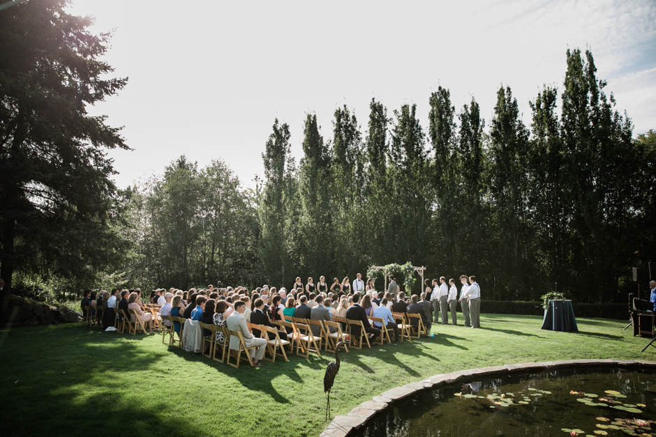 Outdoor ceremony at Cedarbrook Lodge wedding