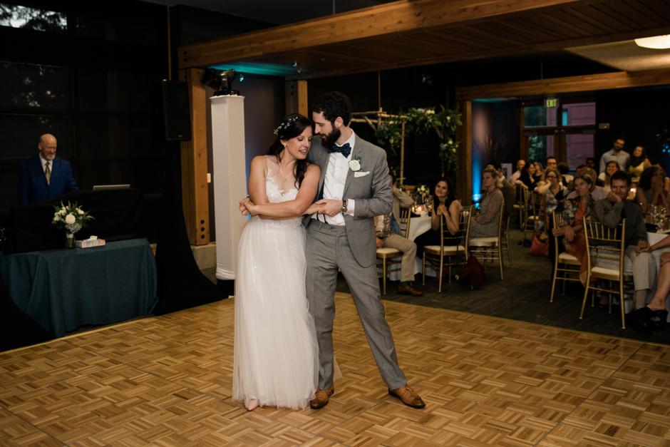 Couple's first dance at Cedarbrook Lodge wedding