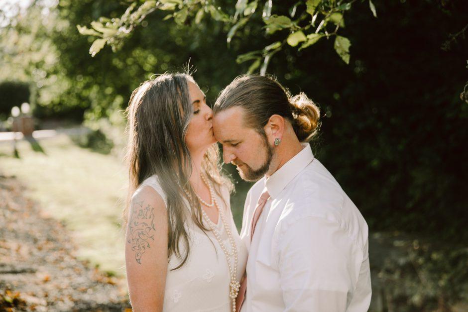 sunset wedding backyard bride and groom