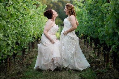 utopia vineyard same sex wedding two brides in the grape vines