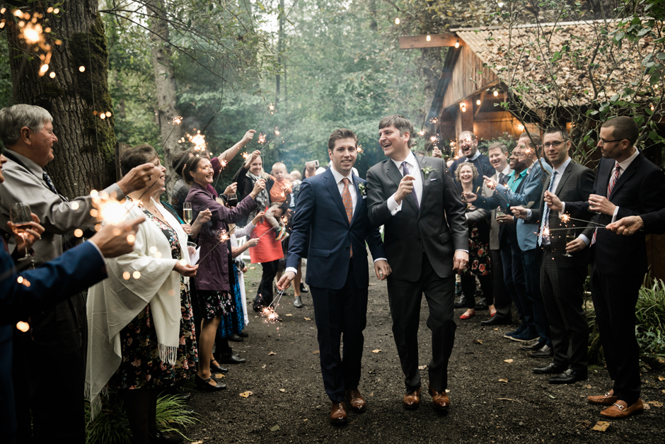 same sex wedding sparkler entrance