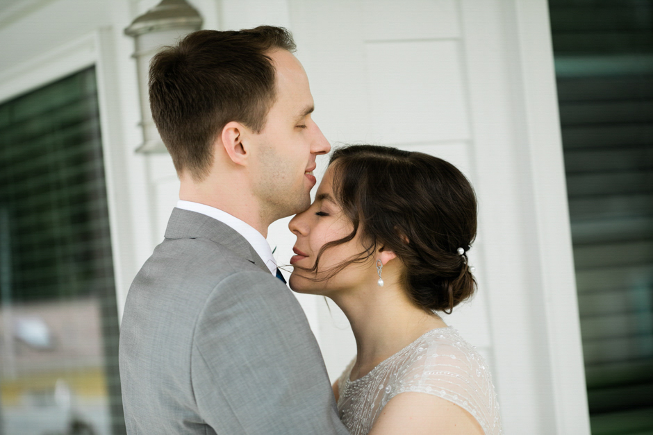 first look between bride and groom at port gamble