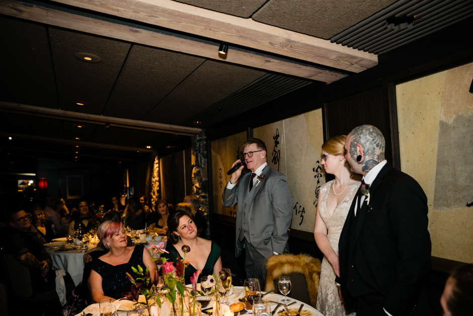 bride's father giving a toast at canlis restaurant
