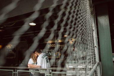 engaged couple at mariners stadium