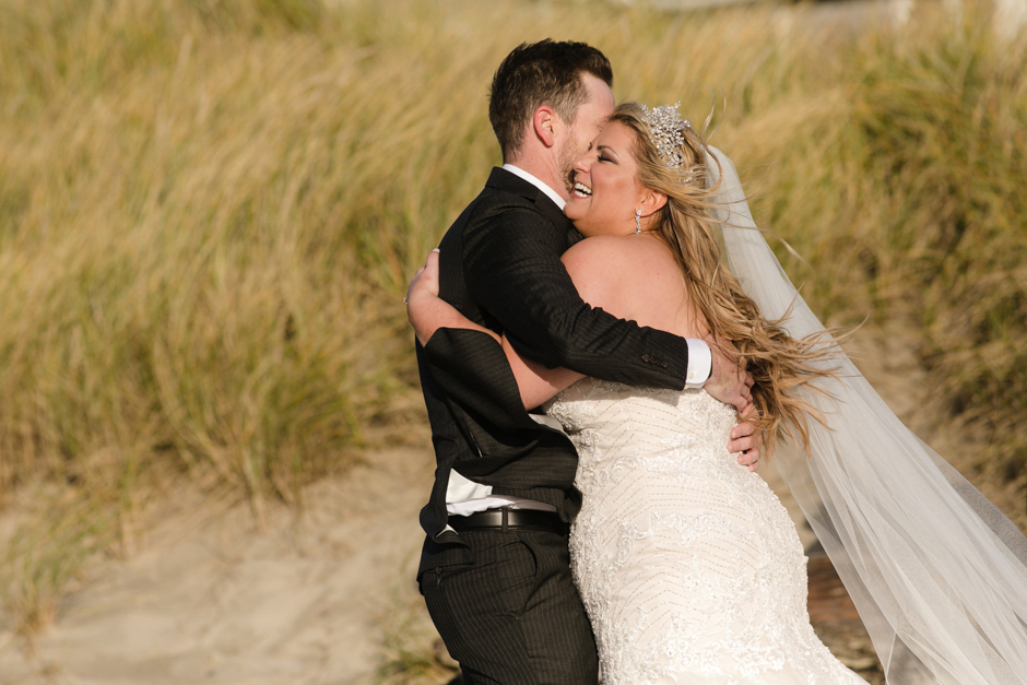 First looks with bride and groom at Cannon Beach wedding