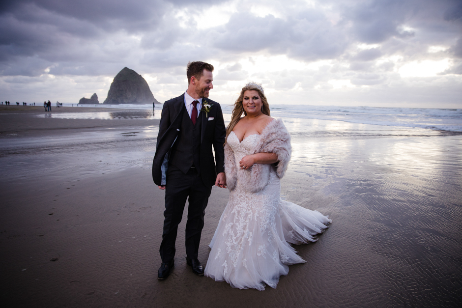 Bride and groom on beach at Cannon