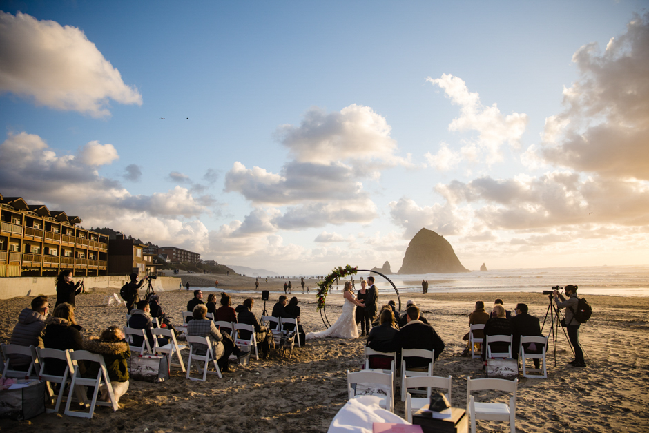 Ceremony of Cannon Beach wedding