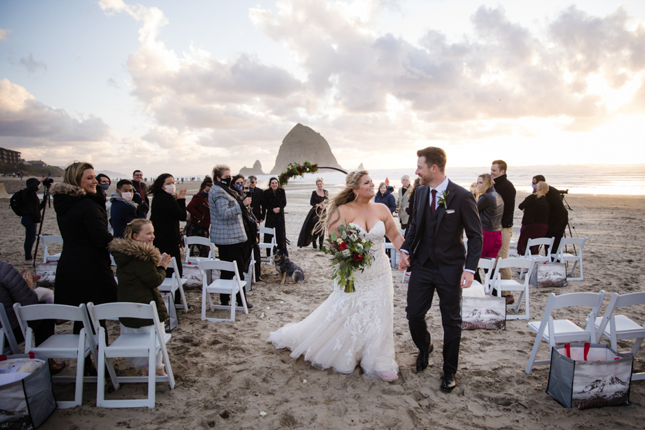 Couple's recession at Cannon Beach wedding