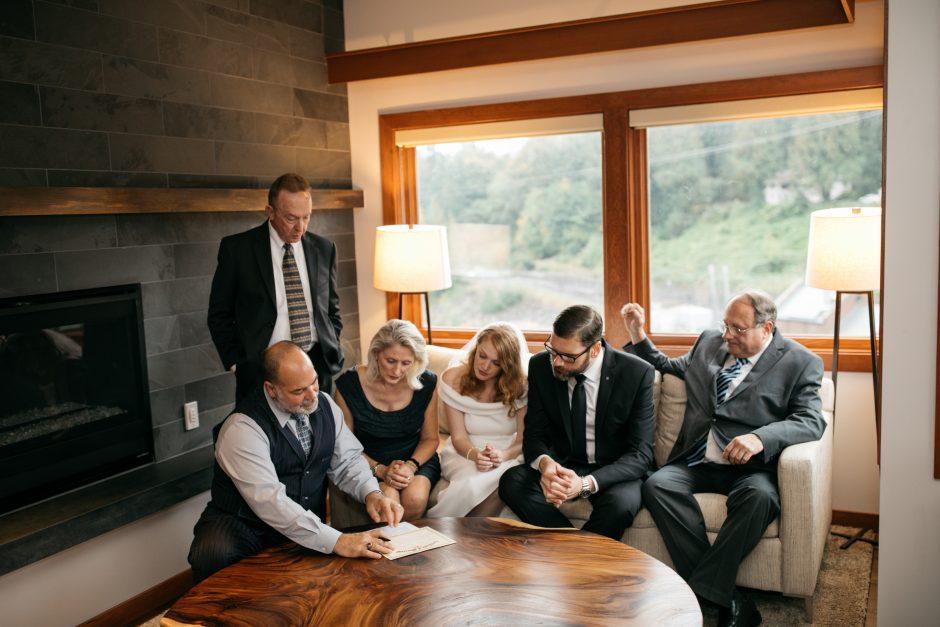 marriage license signing at Salish Lodge