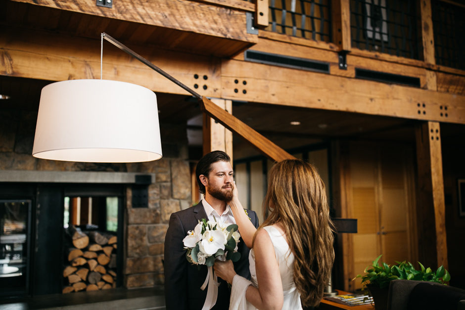 Elopement couple with bouquet by Fena Flowers
