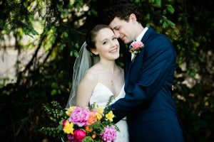 willows lodge bride and groom portrait near trees