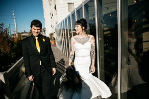 tattoo bride and groom in black