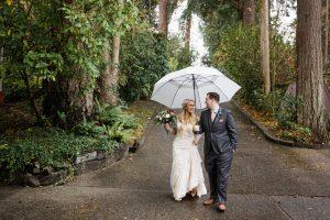 bride groom walking in rain on wedding day